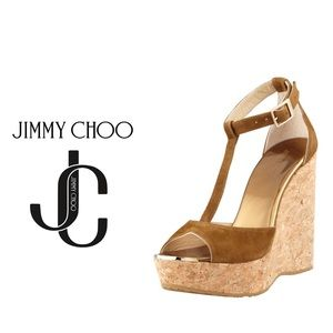 Authentic Jimmy Choo Pela Suede T-Strap Cork-Wedge